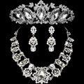 2016 Fashion Design Flower Crystal Bride 3PCS Necklace Earrings Tiaras Crowns Bridal Wedding Jewelry Set Accessories For Women