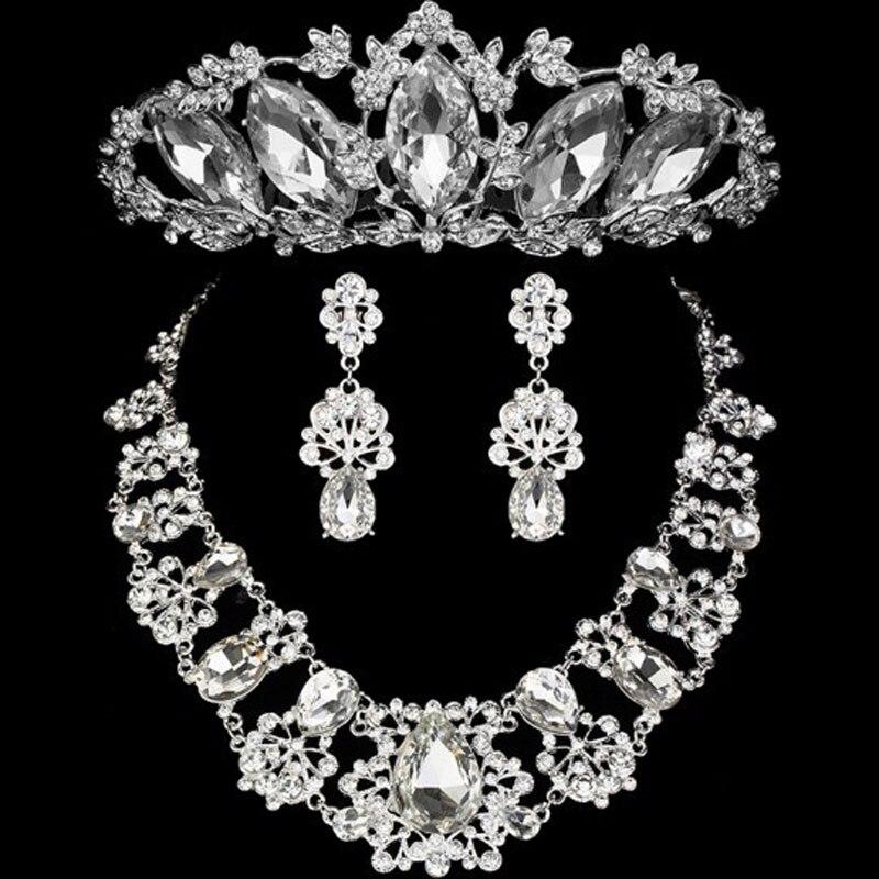 2016 Fashion Design Flower Crystal Bride 3PCS Necklace Earris
