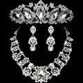 2016 diseño flor de moda cristalino de la novia 3 unids collar pendientes Tiaras coronas novia de la boda accesorios determinados de la joyería para mujeres
