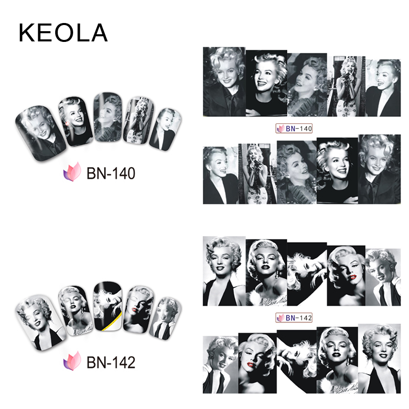 Keola sexy marilyn monron design water transfer nail stickers diy nail wraps decals decoration nail art in stickers decals from beauty health on