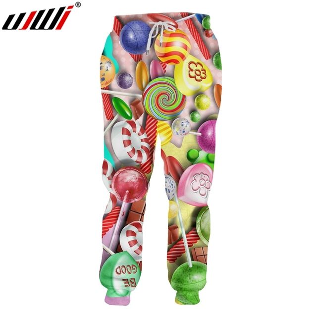 UJWI Man Casual Colorful Candy Sweatpants Clothing Best Selling Men's Pants 3D Printed Creative Colored Lollipop