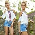 New Women's Sexy Tops Off Shouler Shirt  Summer Casual Loose T-shirt