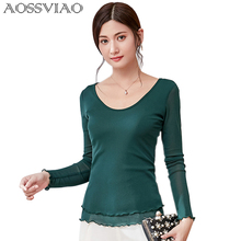 Women Blouses Camisas Femininas 2019 Spring Plus Size Chiffon Shirts Long Sleeve Blouse O-Neck Casual Tops Female Green Black
