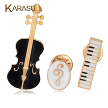 3Pcs Set Luxury Gold color Brooches For Women Black Violin White Piano Note Brooch Pins Fashion