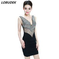 female sexy package hip dress deep V see through one piece dress high quality with Crystals nightclub Bar costumes formal dress