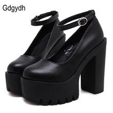 Gdgydh 2017 new spring autumn casual high-heeled shoes sexy ruslana korshunova thick heels platform pumps Black White Size 40
