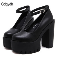 Gdgydh 2018 new spring autumn casual high-heeled shoes sexy ruslana korshunova thick heels platform pumps Black White Size 40