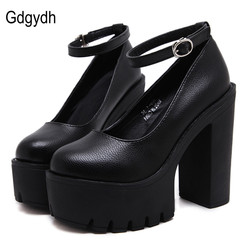 Gdgydh 2018 new spring autumn casual high-heeled shoes sexy ruslana korshunova thick heels platform pumps Black White Size 42