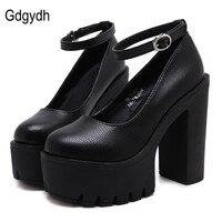 Gdgydh 2019 new spring autumn casual high heeled shoes sexy ruslana korshunova thick heels platform pumps Black White Size 42