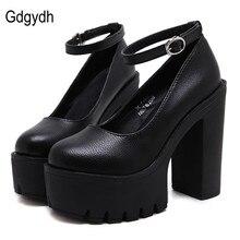 Gdgydh 2020 חדש אביב סתיו מקרית נעליים עקב סקסי רוסלנה korshunova עבה עקבים פלטפורמת משאבות שחור לבן גודל 42