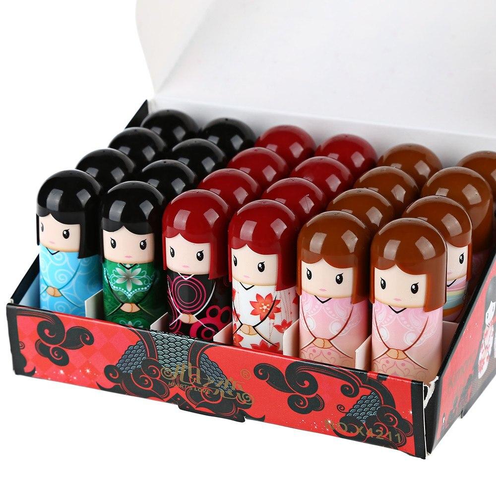 Gustala 24pcs/set Beautiful Cartoon Kimono Doll Lip Balm Moisturizing Lipstick Balm Lip Makeup Cosmetic Tools for Women cartoon doll style waterproof eyeliner for makeup cosmetic purple
