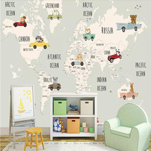 Cartoon world map personality background wall professional production wallpaper mural custom poster photo