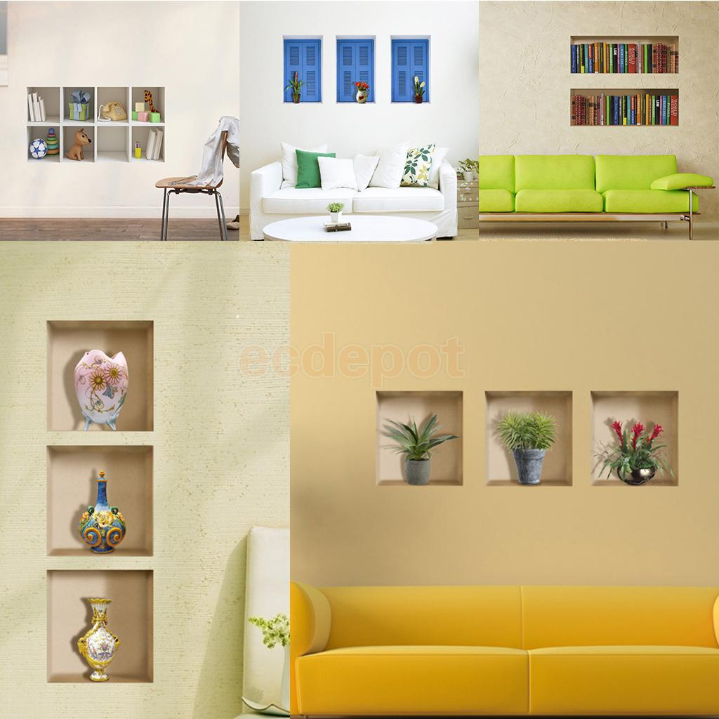 HOT SALE! Various3D Room Pictures Unframed Wall Stickers Wall Decals Home Living Room De ...