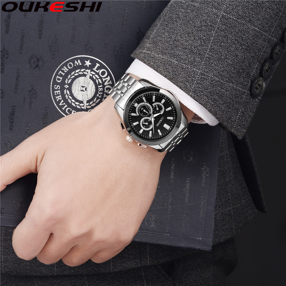 Full Stainless Steel Watch OUKESHI Brand Men Business Fashion Watch Relogio Masculino Man Casual  Quartz Wrist Watches ipc motherboard pca 6004 rev a2 pca 6004v pca 6184 100% tested perfect quality