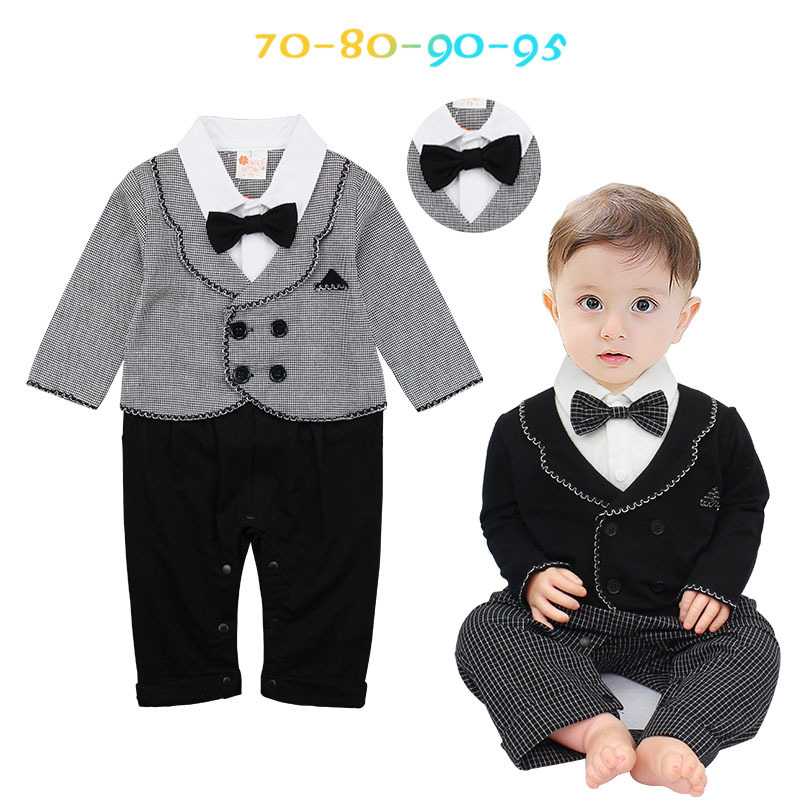 Baby Jumpsuit Spring Autumn Long Sleeve Romper Gray Bow Boy Clothes Elegant Gentleman Tuxedos Clothing Baby Photography Costumes
