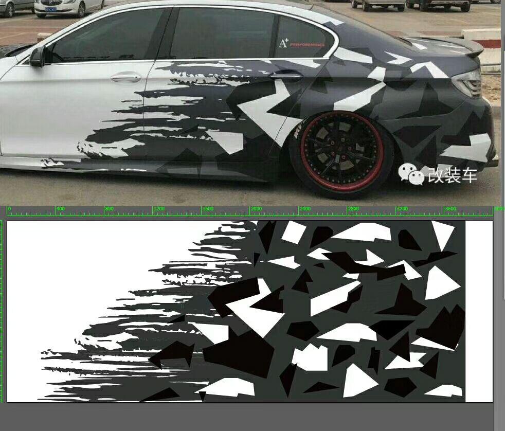 Nouveauté Film de Camouflage en vinyle noir blanc gris Camo avec emballage de voiture sans bulles d'air autocollant d'emballage de moto