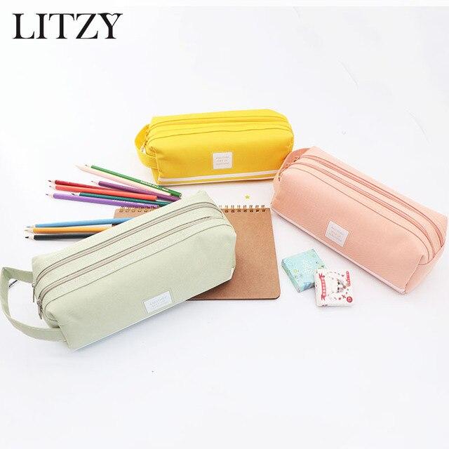 Doble cremallera lápiz caso lindo claro abandonada gran Kawaii bolsa de la escuela y las oficinas de suministros de papelería para niñas caja de lápiz