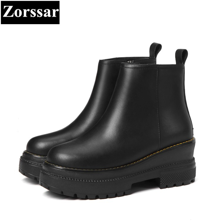 {Zorssar} 2018 NEW fashion Genuine leather platform women ankle boots winter warm women shoes High heels Women's Martin boots fedonas top quality winter ankle boots women platform high heels genuine leather shoes woman warm plush snow motorcycle boots
