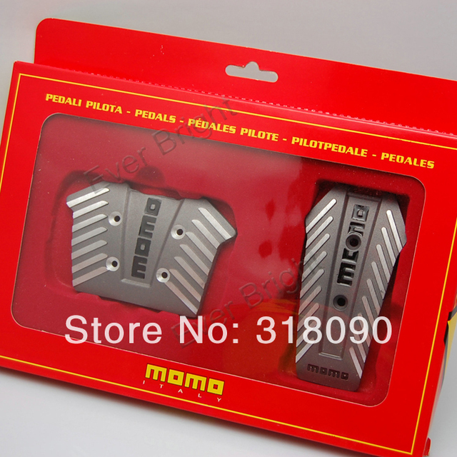 New!! 2Sets Automotive MOMO NERO Pedals Non-slip Car Foot Pedal Automatic Brake Pedal Sport Pedal Pad Cover Black Silver