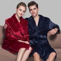 Vente chaude Amants Doux comme de la Soie Hiver Chaud Peignoir Hommes Longue Kimono Peignoir Femme Robes Robe de Chambre Hommes pour Mâle Peignoirs