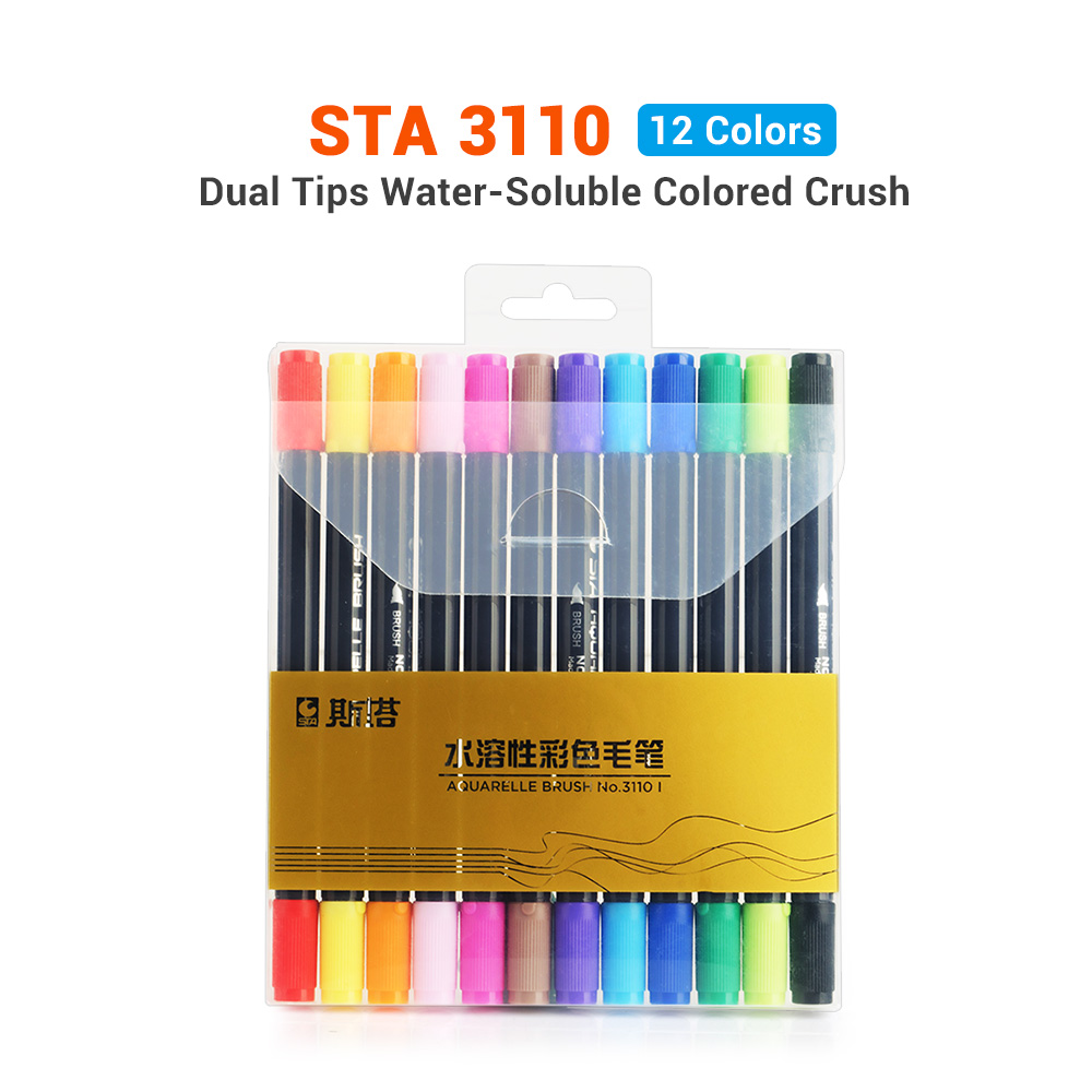 STA Dual Tips Water-based Art Marker Pens with Fineliner Tip 12/24/36/48/80 Color Set Water-soluable Brush Marker Pen promotion touchfive 80 color art marker set fatty alcoholic dual headed artist sketch markers pen student standard
