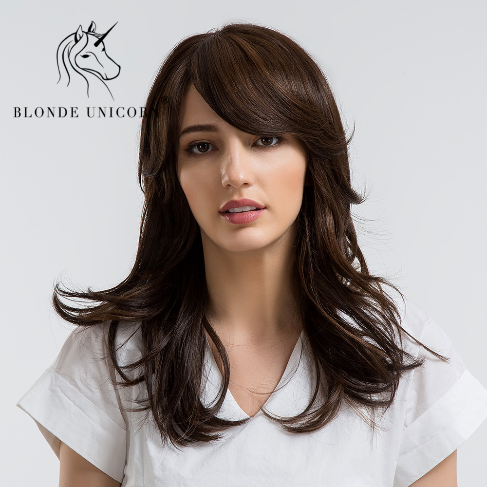 BLONDE UNICORN 18 Inch Womens Wigs Dark Brown Synthetic Side Bangs Natural Long Wavy wit ...