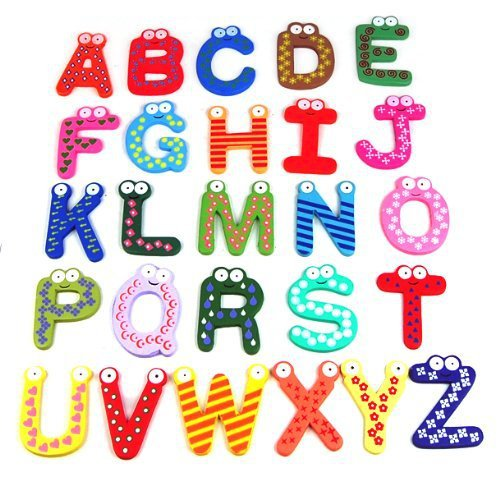 Funky Fun Colorful Magnetic Letters A Z Wooden Fridge Magnets Kid Toys Education