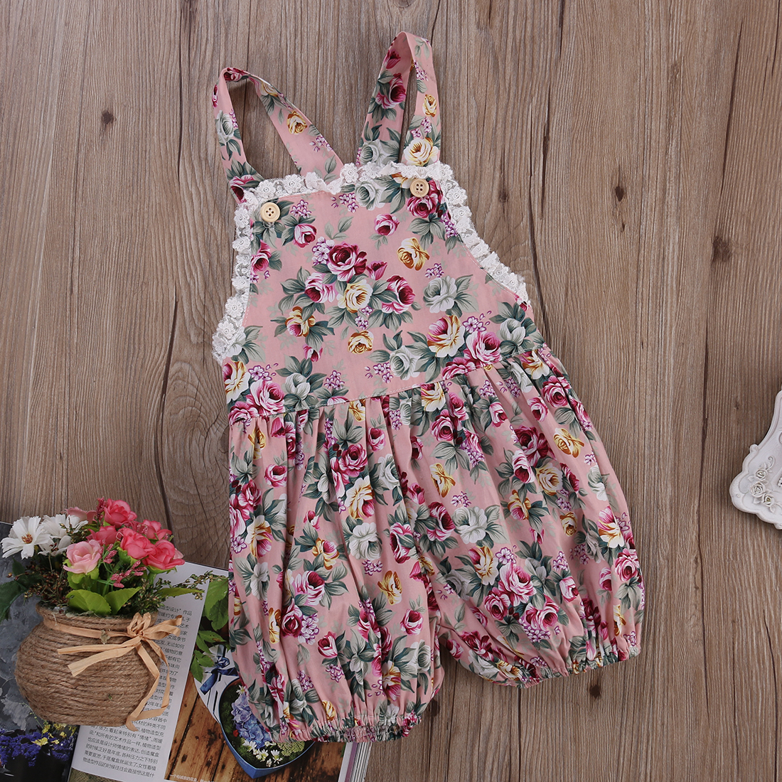 20049ac1d Baby Girl Infant Toddler Rose Flower Lace Romper Jumpsuit Strap ...