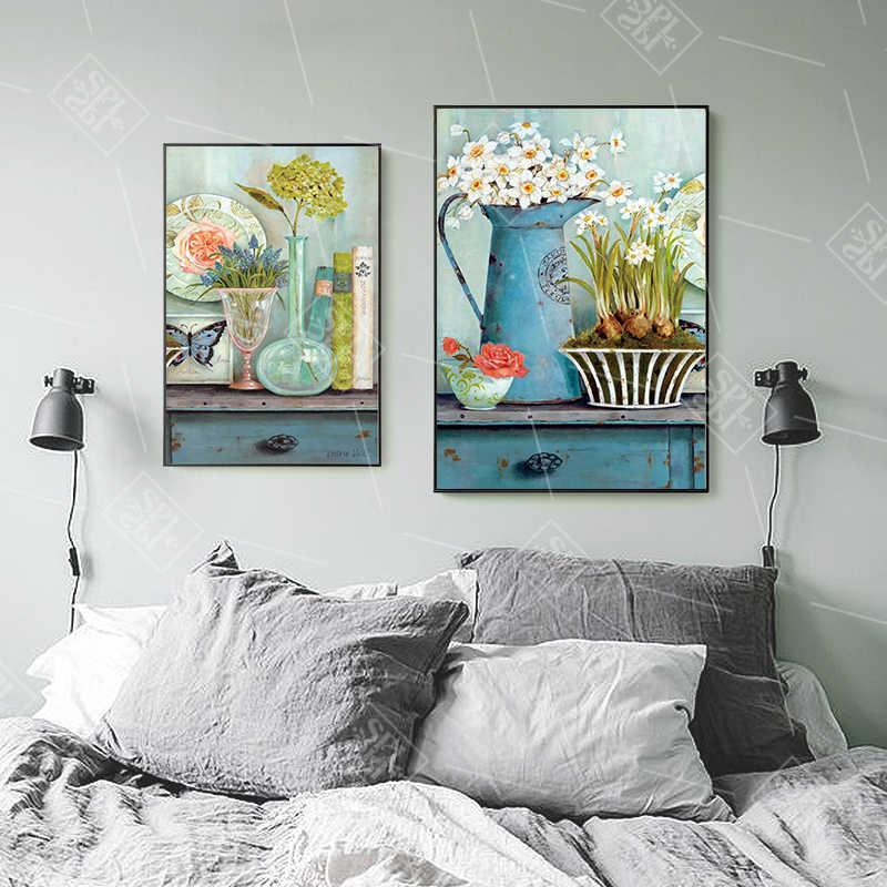 Vintage Blume Leinwand Malerei Europäischen Pastoralen Hause Dekoration Wand Kunst Bild Nordic Minimalistischen Aquarell Poster und Drucke