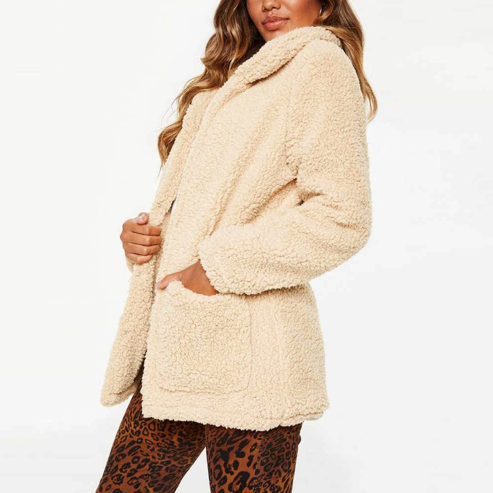 6eee443f39dec ... Feitong Winter Solid Warm Coat 2018 Women s Lapel Long Sleeve Faux  Shearling Coat Plus Size Women ...