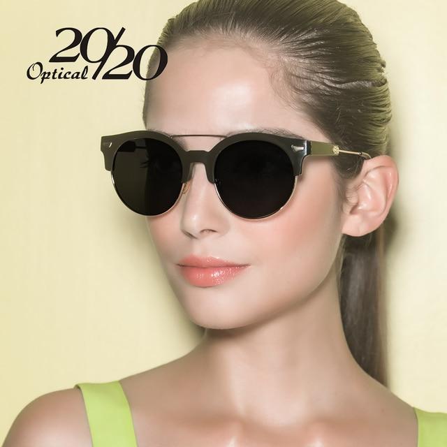 20/20 Brand Classic Metal Frame Polarized Sunglasses Women Round Demi Sun glasses Vintage Eyeglasses Female Oculos De Sol 7020