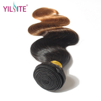 YILITE Russian Body Wave Human Hair Weave, Ombre Color T1B/30 Non remy Hair Weft Bundles 12inch 26inch 1 Bundle