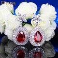Элегантный Дизайн Имитация Рубиново-Красный Камень Ювелирные Изделия Большой Teardrop Форма AAA + Цирконий Партии Серьги Для Женщин E221