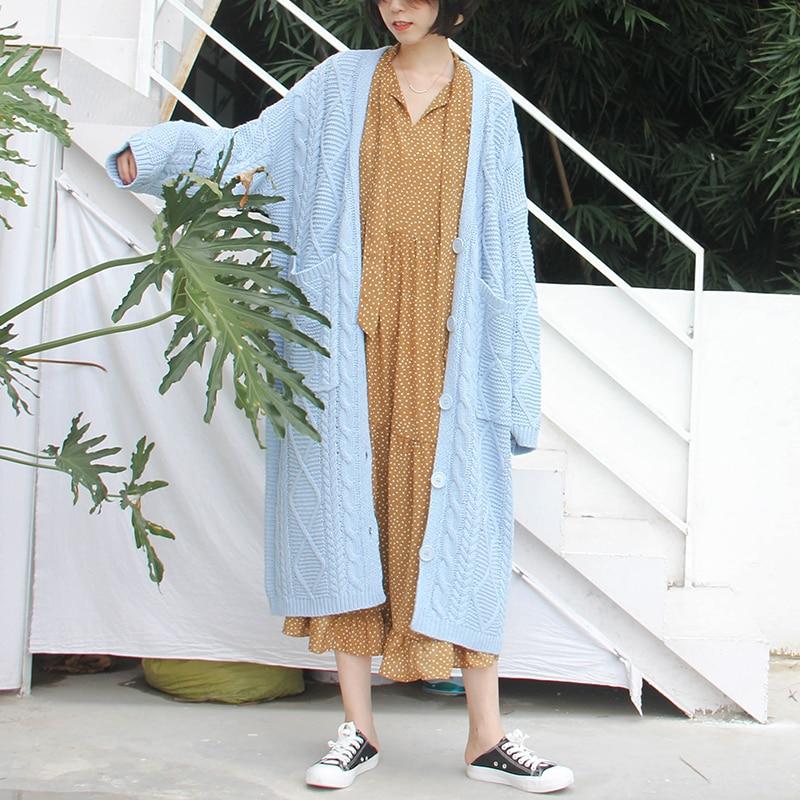 Supérieure Manches Bleu 2019 Femmes Poitrine Cardigans Mode eam Qualité Blue Pull Nouveau Longues À Lâche Lc128 Unique Printanier Long 0q1q5Xw