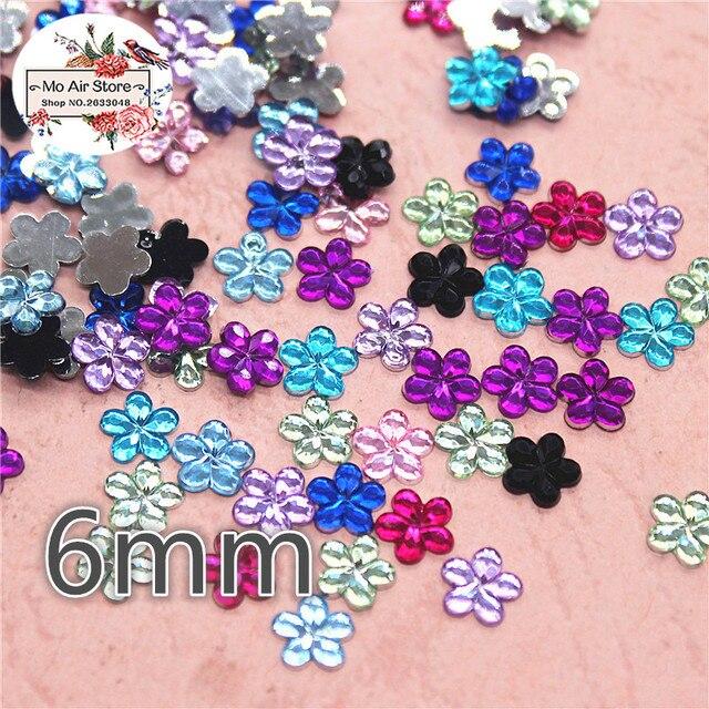 1000pcs 6mm shiny mix color flower Acrylic rhinestone Flat back Cabochon  Art Supply Decoration Charm Craft 703b87b66c84