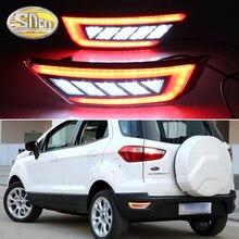 2PCS LED For Ford Ecosport 2013 2014 2015 2016 2017 2018 2019 LED Rear Bumper Light Fog Lamp Brake Warning Light Reflector Lamp недорого