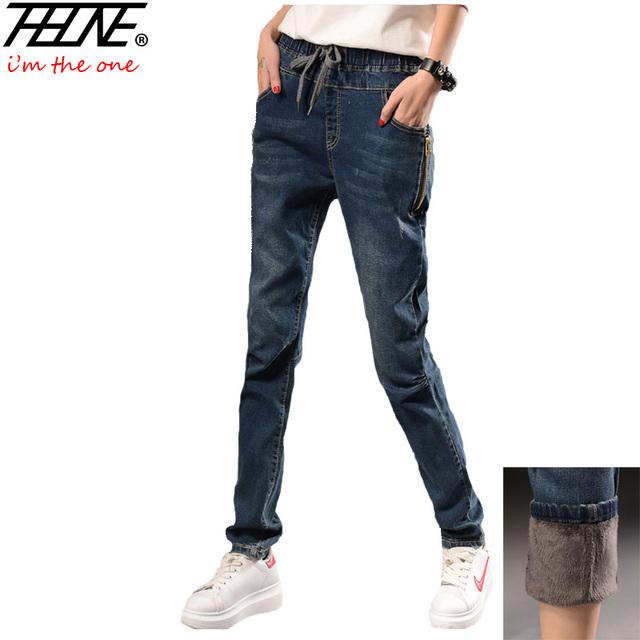 2016 Boyfriend Jeans Mulheres Harem Pants calça Casual Calças de Inverno Quente de Veludo Cintura Elástica Calças Jeans Da Moda Jeans Mulheres Feminino