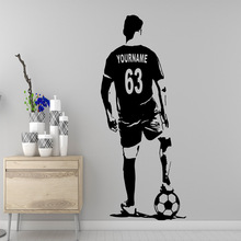 Free shipping football player Custom Name Wall Decal Sticker For Baby Kids Rooms Decor Creative Stickers vinilo pared
