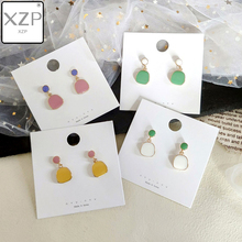XZP Korea Vintage 2019 Summer Colorful Enamel Geometric Irregular Round Square Crystal Waterdrop Drop Earrings for Women Pendant