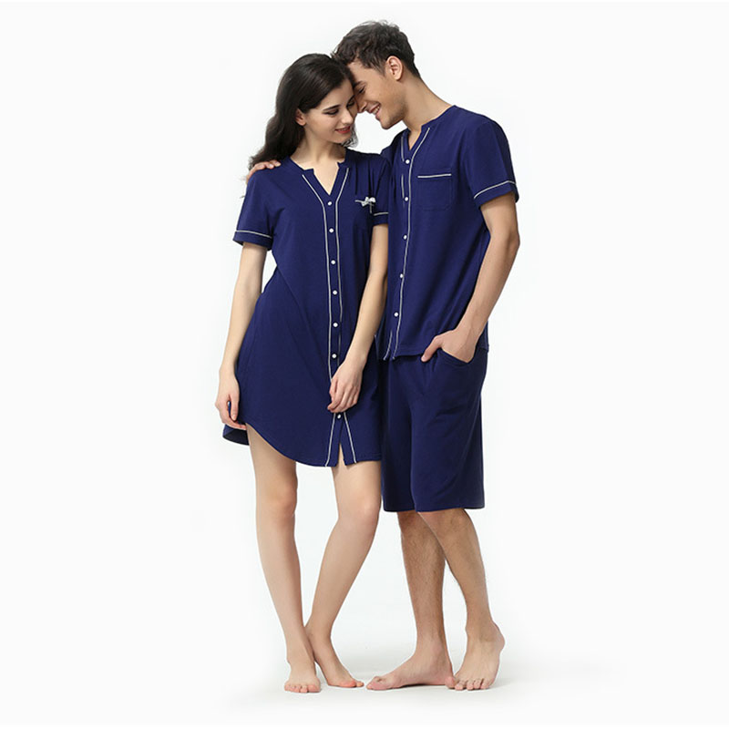Robe Couple Men Pijamas Shorts Male Summer Blue V-Neck Top And Modal Cyran New-Fashion