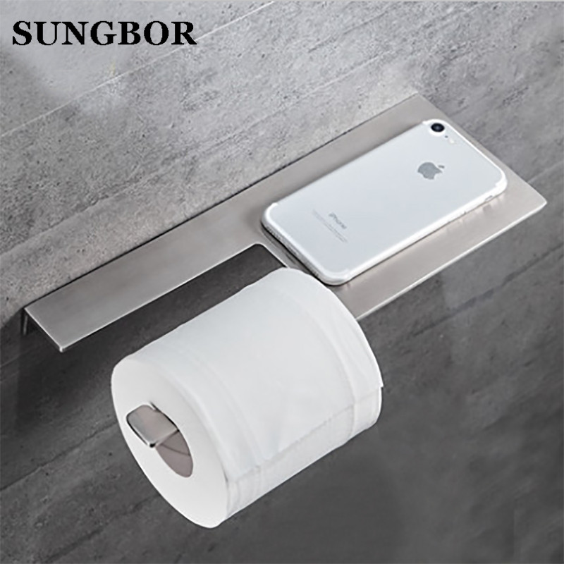 304 Stainless Steel Bathroom Paper Roll Holder With Phone Shelf Toilet Paper Holder Tissue Box Bathroom Mobile Phone Towel Rack 1pcs wall mounted stainless steel bathroom towel shelf holder adhesive force bathroom shelf pendant toilet roll paper hanging