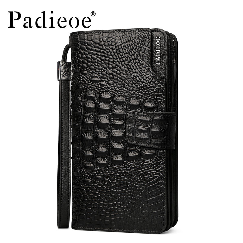 Padieoe Brand New Men Clutch Large Capacity Genuine Leather Business Purse Crocodile Pattern Men's Cowhide Wallet Free Shipping