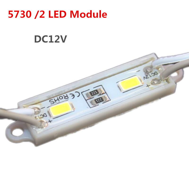 20pcs/lot 5730/ 2 LED Module Waterproof Mini led modules Cool White/warm white LED Lighting Module for Signage Brighter DC12V
