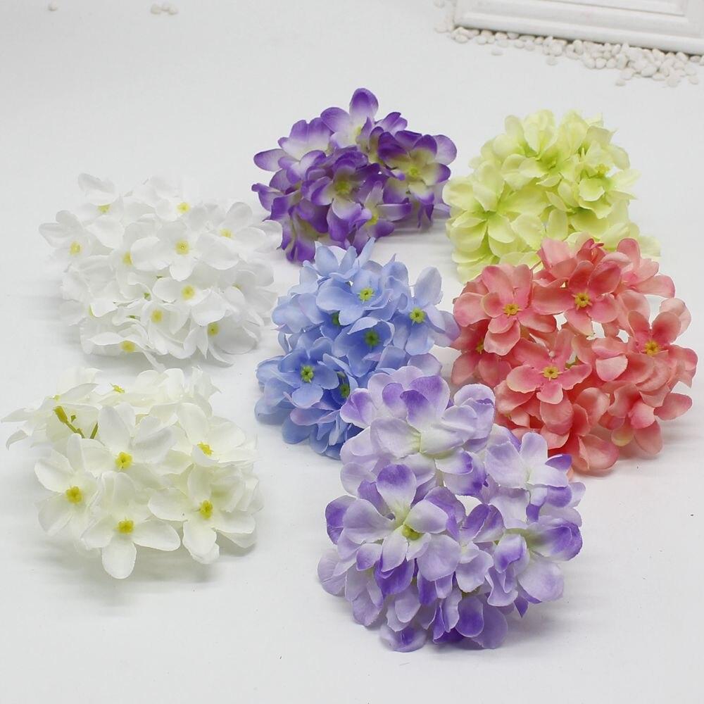 10 unids/lote Grande Hortensias Cabeza de Flores de Seda Artificial Decoración D