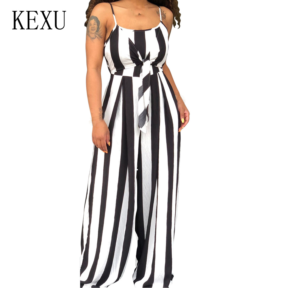 KEXU Sexy Bandeau Strap Wide-leg Jumpsuit Fashion Sleeveless Hollow Out Casual Vertical Striped Romper Summer Streetwear Outfits
