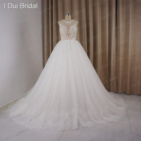 Fake Illusion Corset Wedding Dresses Lace Appliques Beaded Tulle Layer Bridal Gown Factory Real Photo
