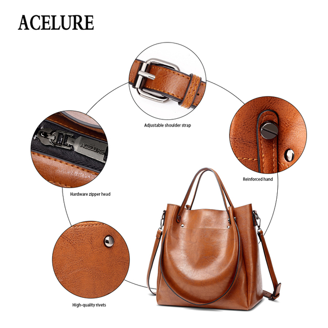 ACELURE Casual Large Capacity Women Tote Shoulder Bag PU Leather Ladies Bucket Handbag Messenger Bag Soft Shopping Crossbody Bag 4
