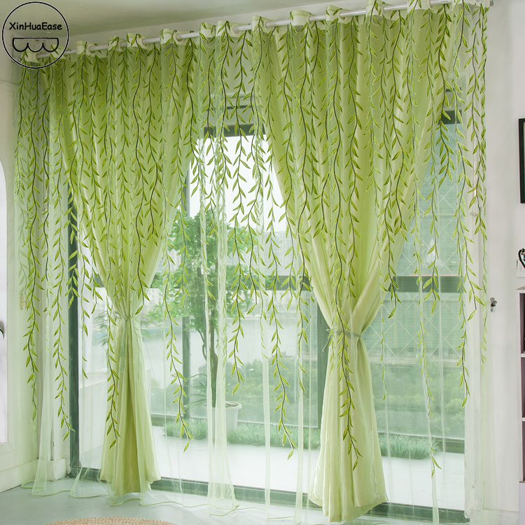 XinHuaEase Window Tulle Curtains Green Willow Voile Sheer Curtain For The Living Room Translucidus Yard Perspective 1Pcs