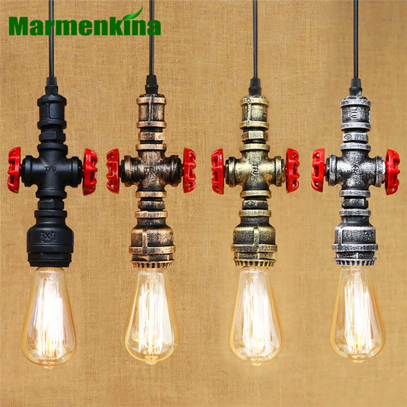 Nordic Countryside LOFT Pendant Lamps Water Pipe Chandeliers Single E27 lamp holder Retro Antique Restaurant Bar Cafe AC110 240V
