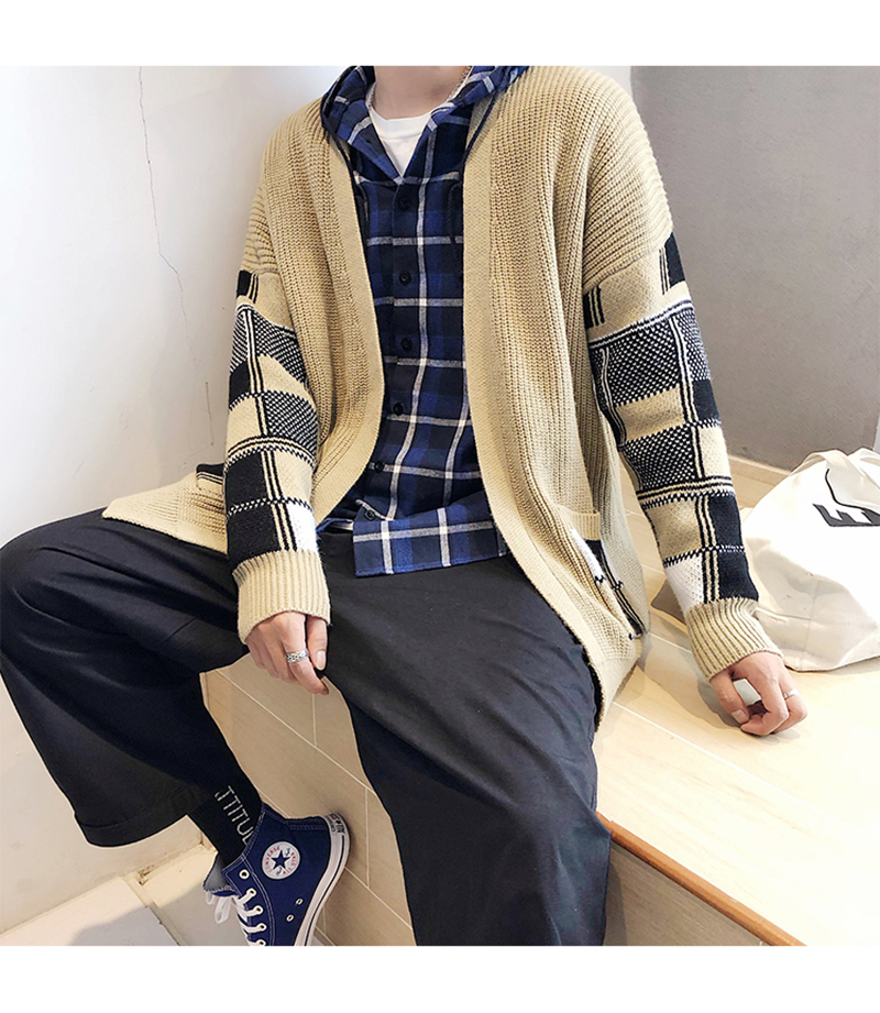 Korean Oversized Sweater Cardigan Men Plaid (8)